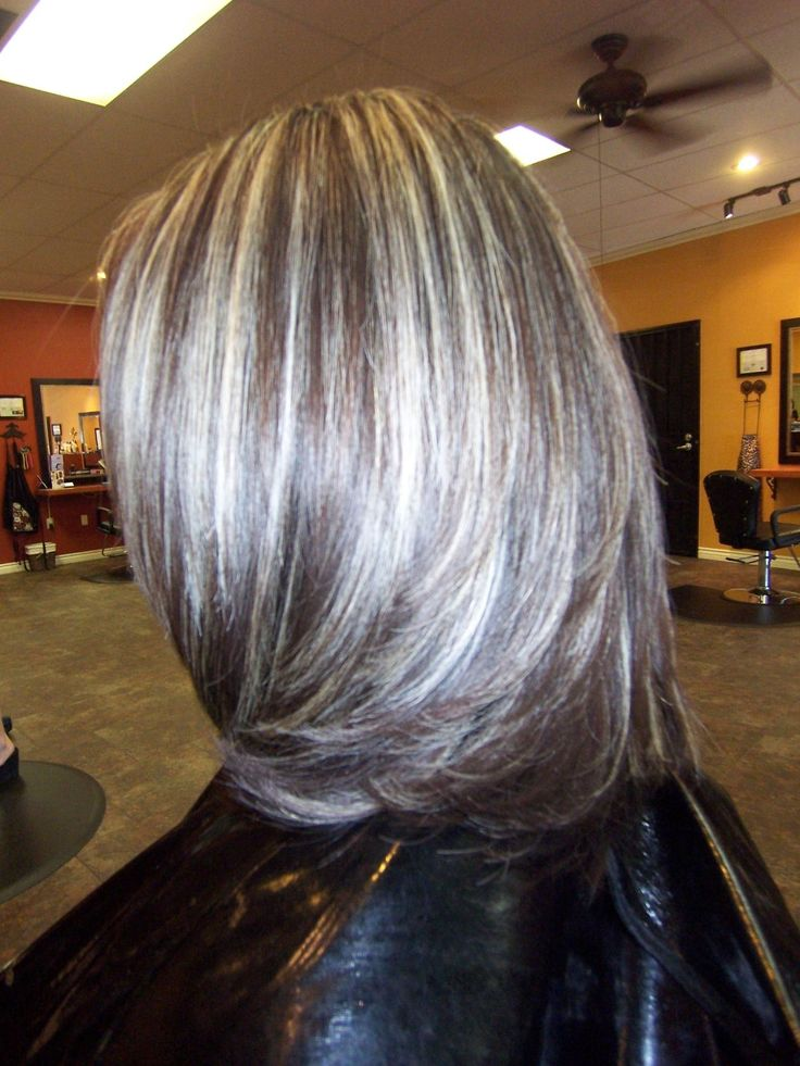 Trendy Hair Color Highlights Gray Highlights In Dark Brown Hair