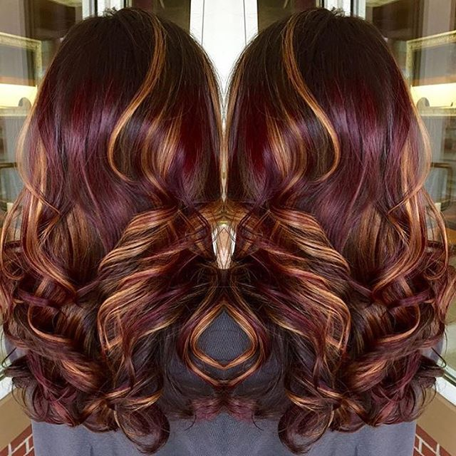 Trendy Hair Color Highlights Red Violet Base With Copper Highlights
