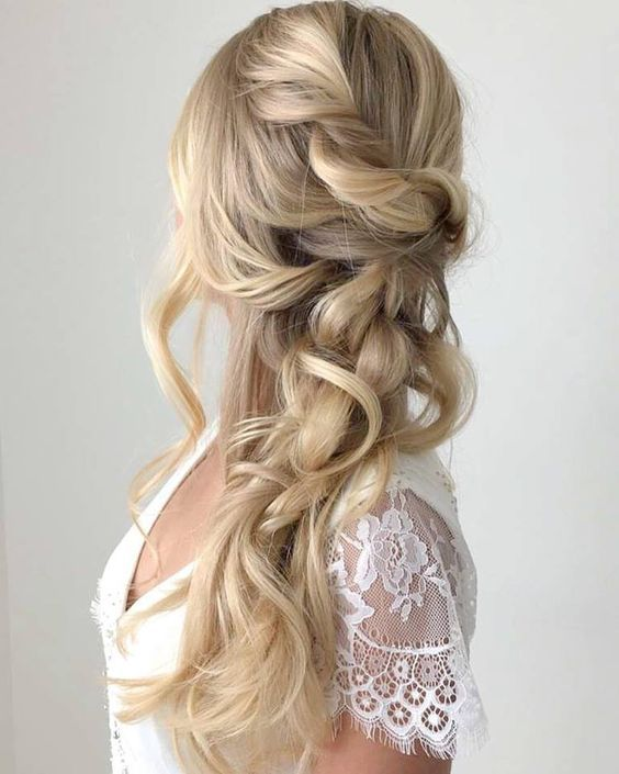 Hair and Makeup by Steph wedding hairstyle for long hair - Deer Pearl Flowers / ...