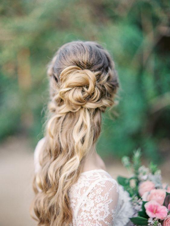Long Hair - Romantic Half Up Hairstyle - Deer Pearl Flowers / www.deerpearlflow....