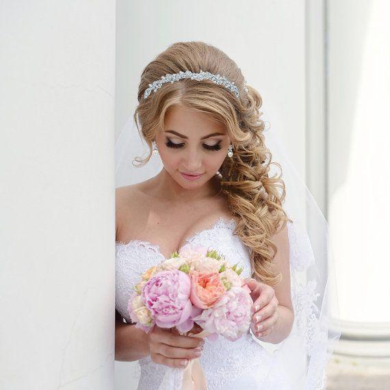 Rhinestone Crystal Pearl bridal headband headpiece, wedding headband, wedding he...