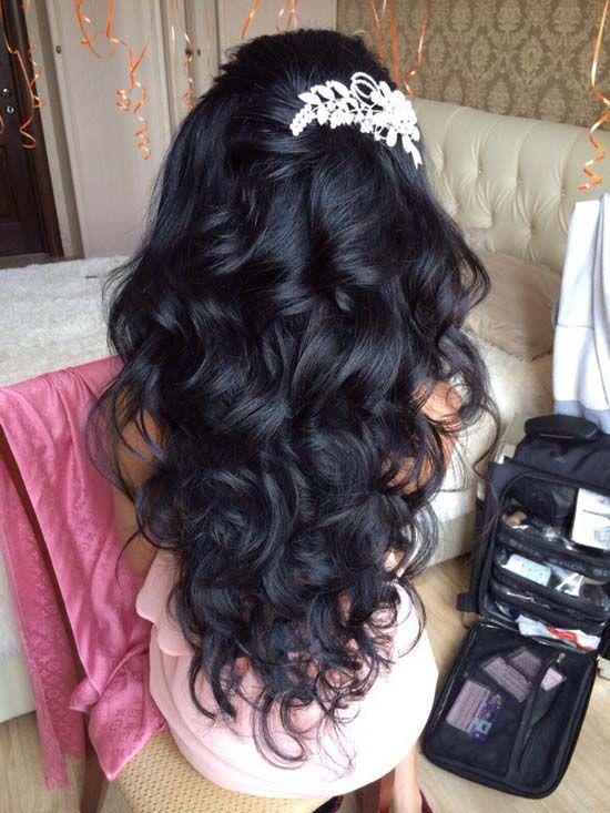 black wavy bridal hairstyle via antonina roman - Deer Pearl Flowers / www.deerpe...