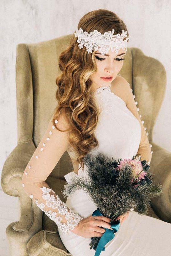 boho wedding hairstyle with wedding makeup via aleksandra prudnikov - Deer Pearl...