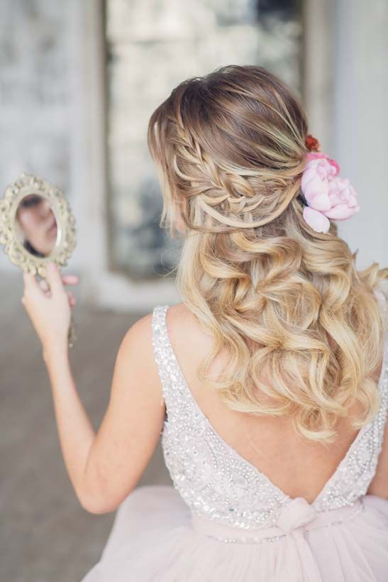 half up half down wedding hairstyle with pink flowers 2 via antonina roman - Dee...