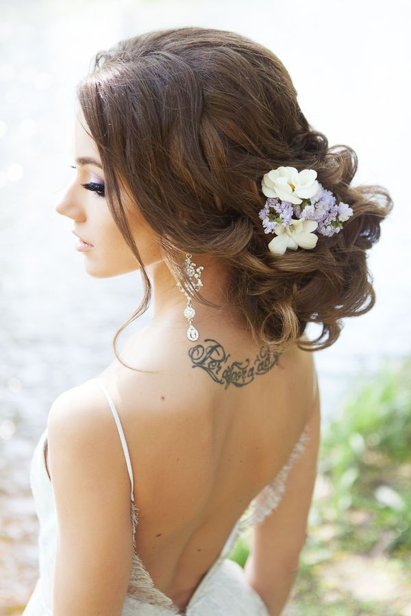 long bridal updo hairstyle with wildflower / www.deerpearlflow...