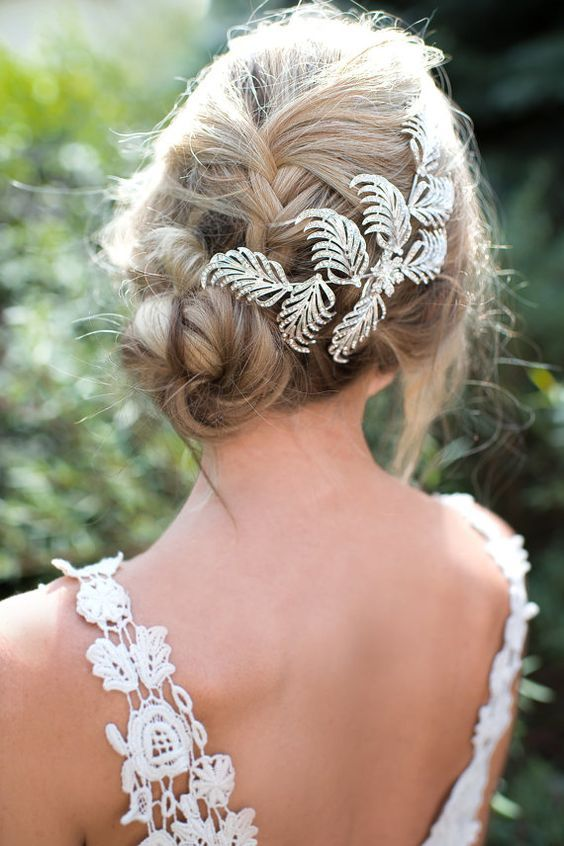 updo braided wedding hairstyle via LottieDaDesigns - Deer Pearl Flowers / www.de...
