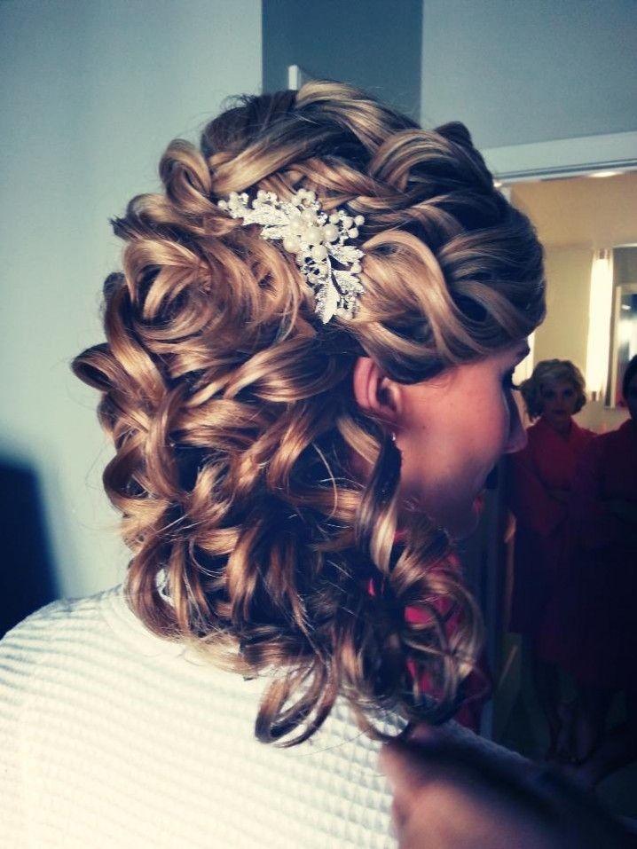 Wedding Hair Idea. . . curls pulled back, instead of straight hair back... love...