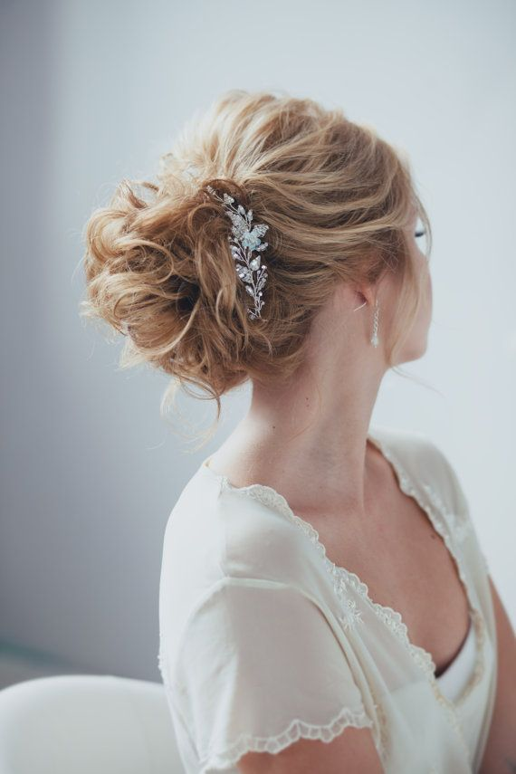 This is the set of hair pins, consisting of two pieces.  This bridal headpiece i...