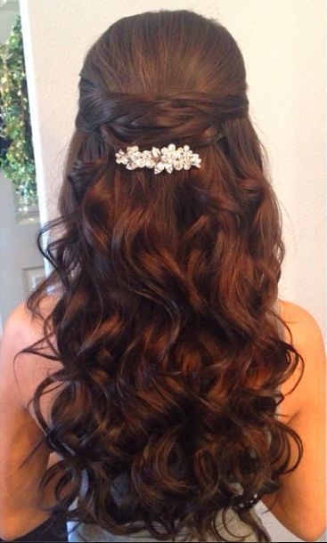 Bridal Hairstyles : Half Up Half Down Wedding Hairstyle With Diamond ...