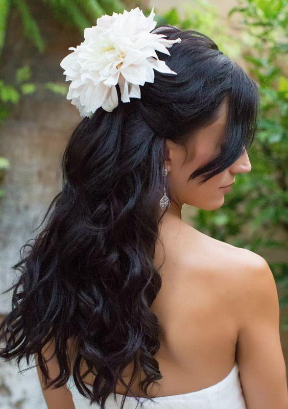 half up half down wedding hairstyle via Elizabeth Langford Photography - Deer Pe...