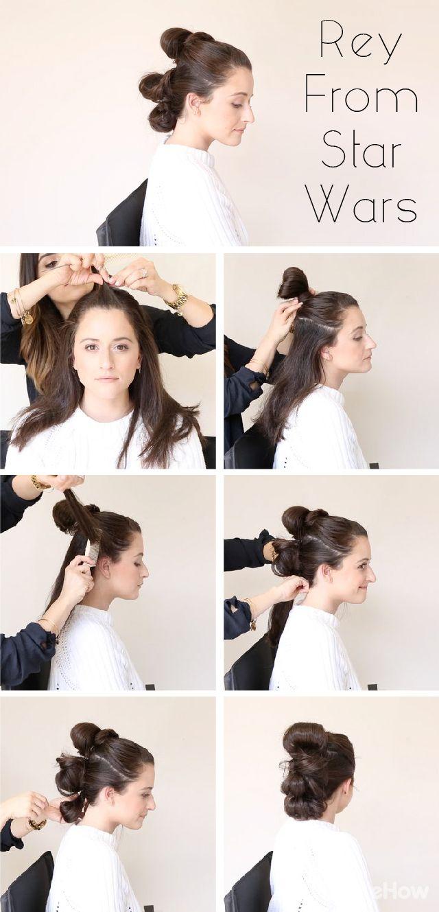 Probiere den klassischen Hairstyle von Rey aus Star Wars aus - mit ein paar einf...