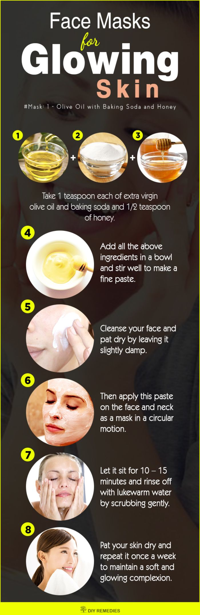 DIY Face Masks for Glowing Skin  This face mask is suitable for all skin types. ...