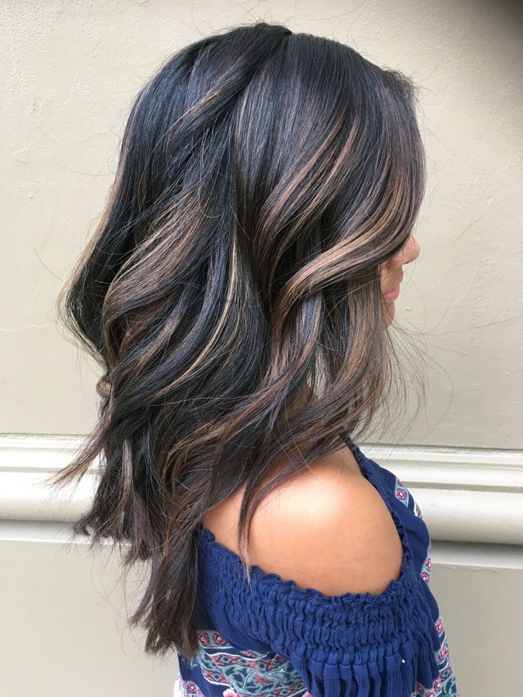 Dark balayage hair. Dark hair with dimensions. Dark hair don't care. Balayag...