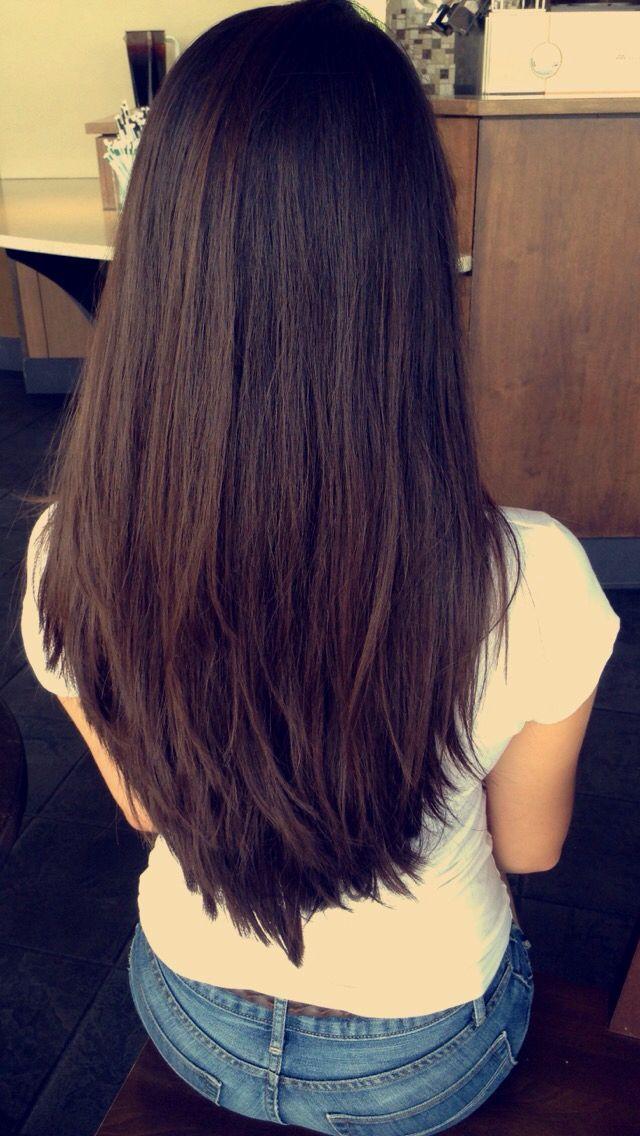 Haircuts For Long Hair Long Deep Espresso Brown Hair With Short