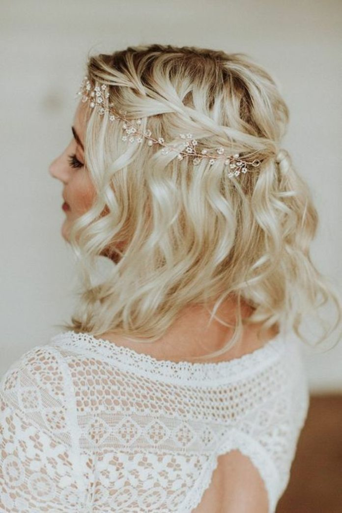 Hairstyle - Tresses : coiffure mariage cheveux court, carré blond wavy coiffure mariage tresse ...