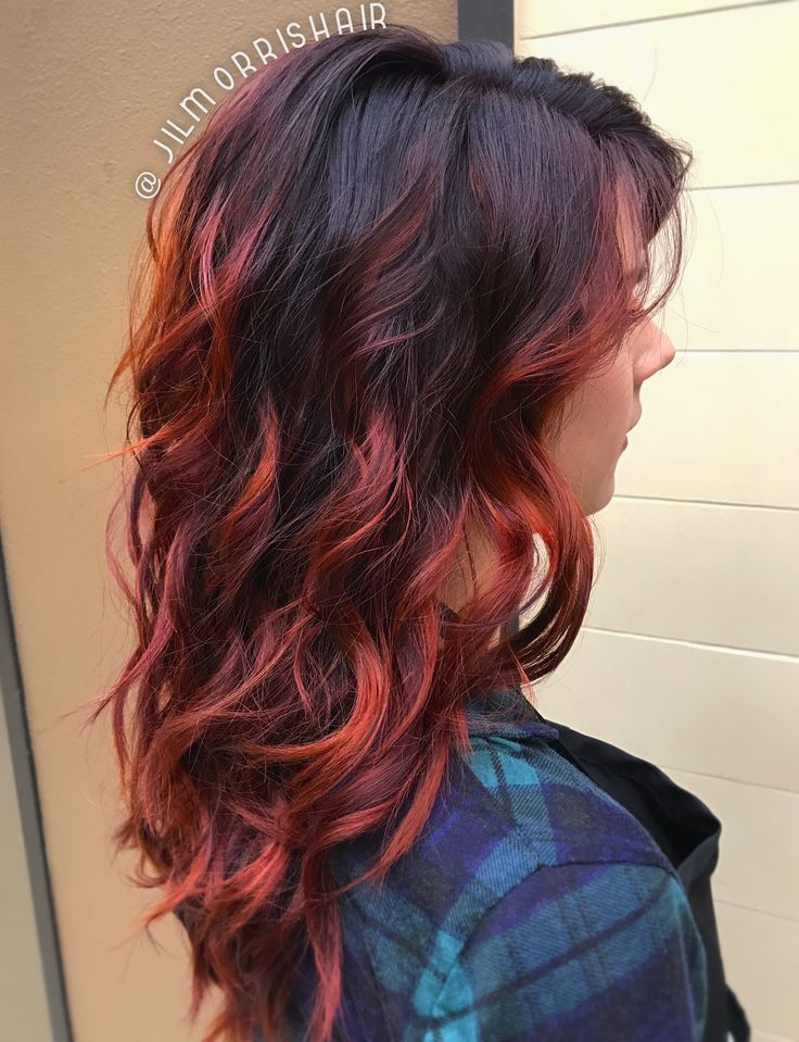 Red Hair Color Fiery Red Fall Hair Balayage Highlights Violet