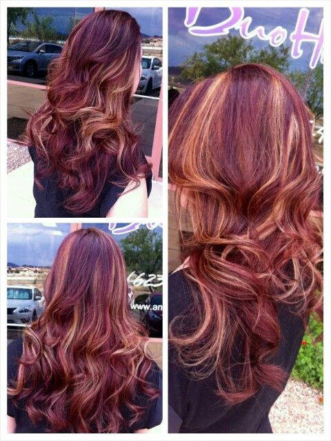 Red Hair Color Red Hair With Blonde Peekaboo Highlights Beauty