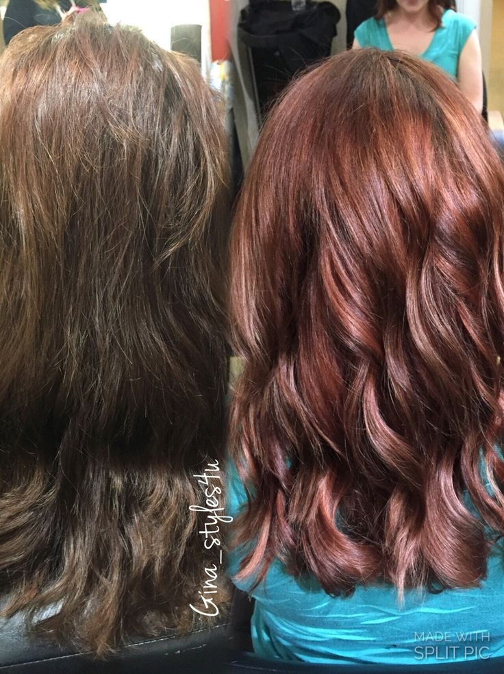 Red Hair Color Rose Gold Hair Color On Previously Brown Hair Color