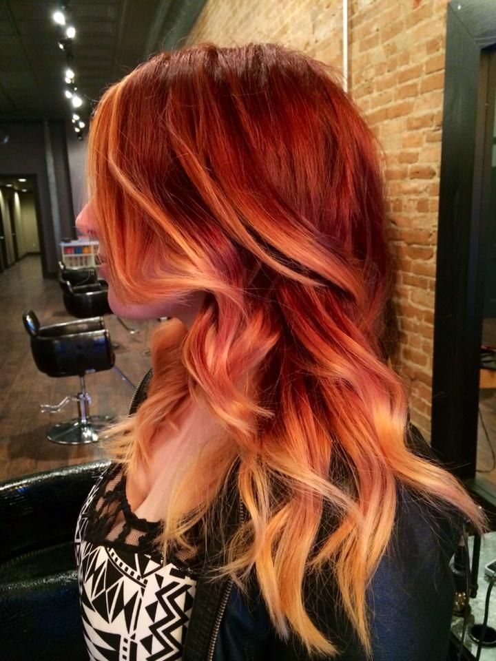 Red Hair Color Summer Hair Red Highlight Ombre Baliage Bold