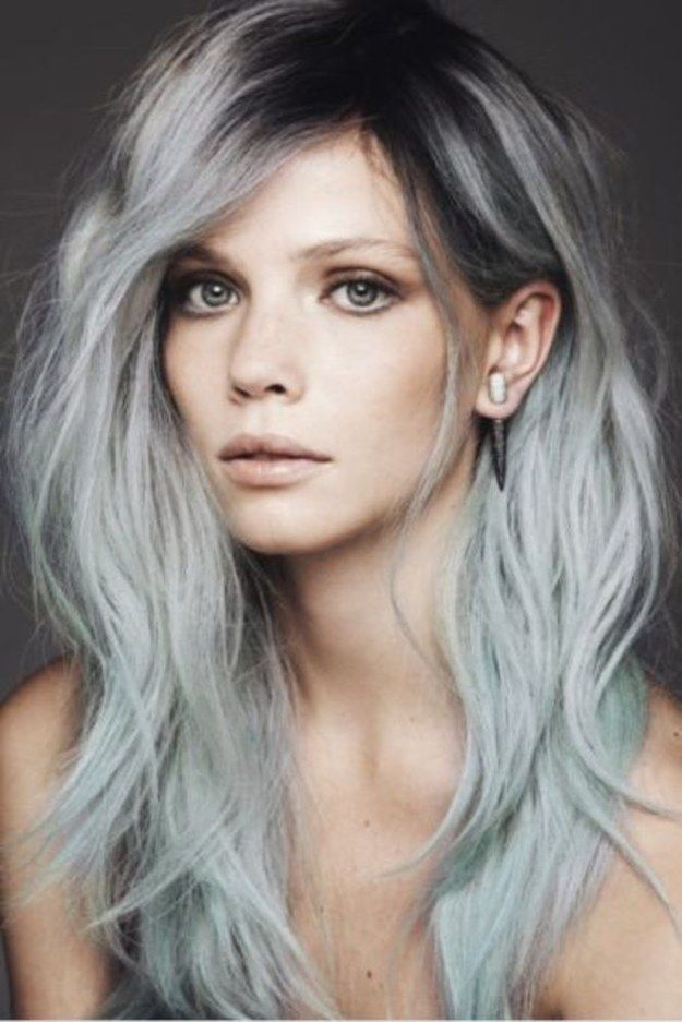 Trendy Hair Color Highlights Black Roots On Gray Or Icy Blue