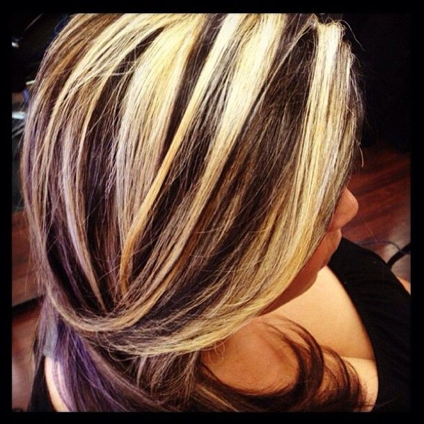 Trendy Hair Color Highlights Chunky Blonde And Dark Panels