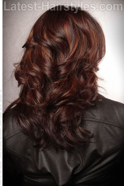 Trendy Hair Color Highlights Copper And Red Tones On Dark Brown Hair
