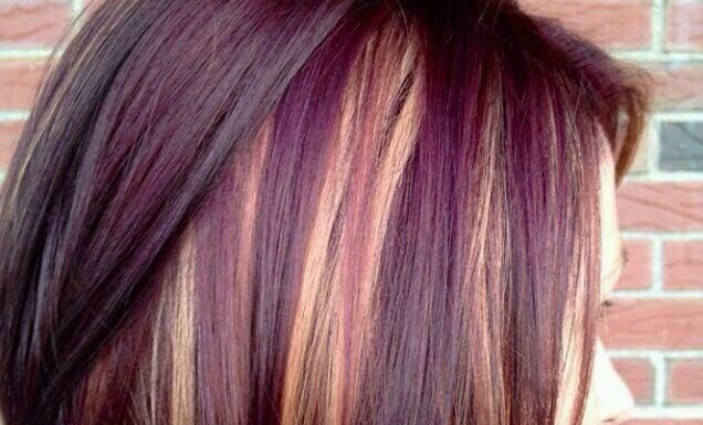 Trendy Hair Color - Highlights : Cute short hair cut with purple and ...