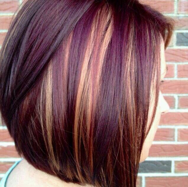 Trendy Hair Color Highlights Cute Short Hair Cut With Purple And