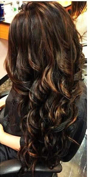 Darker color with highlights! spice up your dark hair with some subtle highlight...