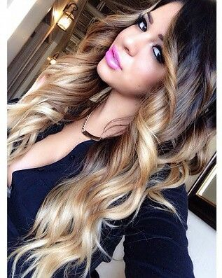 Gorgeous long, dark brown to light blonde ombre hair #wavy #curly
