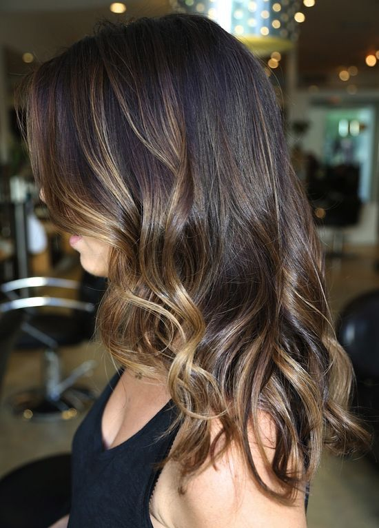 Trendy Hair Color Highlights Medium Length Dark Brown Hair With