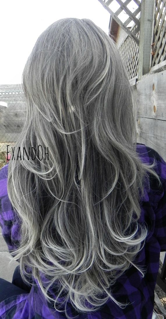 Trendy Hair Color Highlights On Sale Lace Front Wig Natural Grey