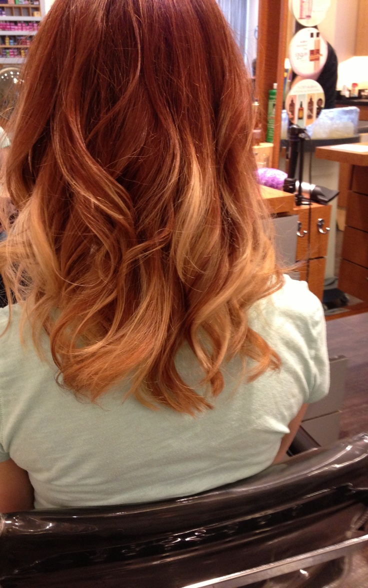 Trendy Hair Color Highlights Ombre With Copper Red And Blonde