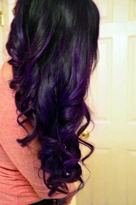 Trendy Hair Color Highlights Purple Highlights In Dark Hair