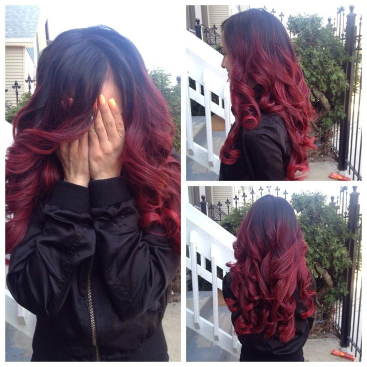 Red and black ombre hair (with extensions)