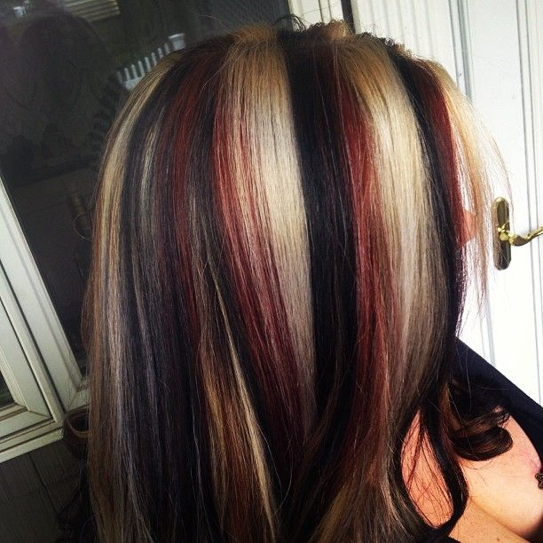 Trendy Hair Color Highlights Red Blonde And Black Do Believe