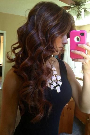 Red brown ombre with highlights... If I ever did anything to my hair, this would...