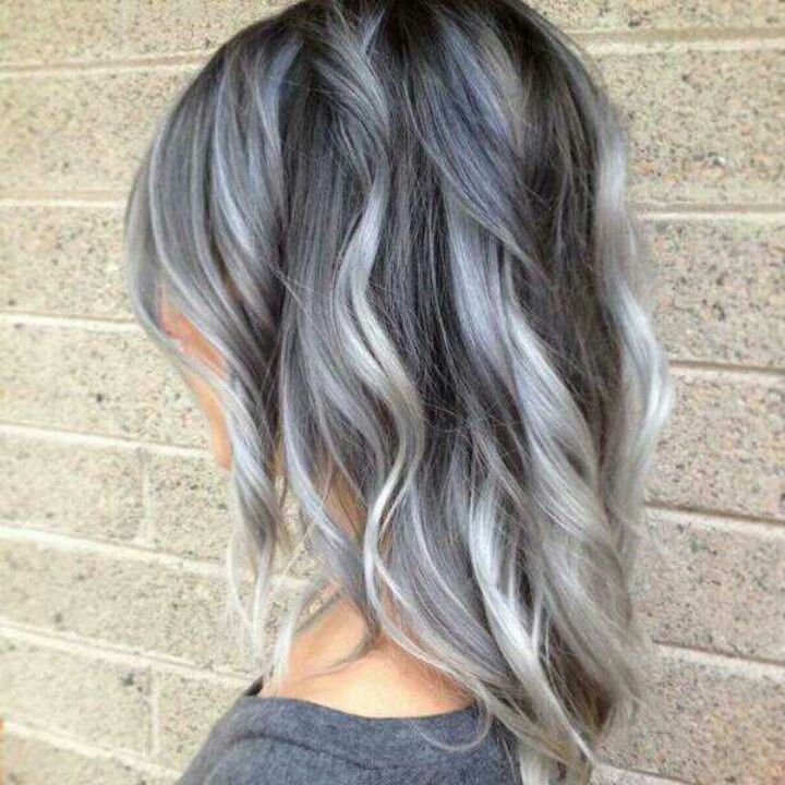 Silver grey with white highlights... I've always wanted silver hair and this...