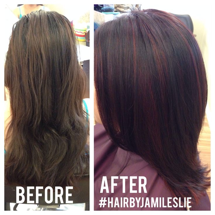 Trendy Hair Color Highlights Violet Mahogany Base With Red
