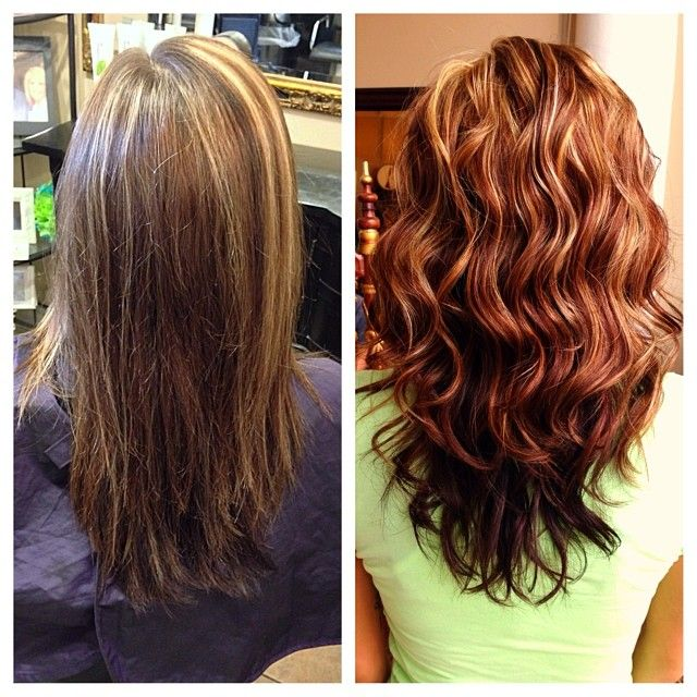 Brown Hair With Caramel And Auburn Highlights Image