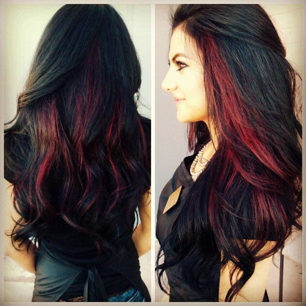 Trendy Hair Color Highlights Black Hair With Red Highlights
