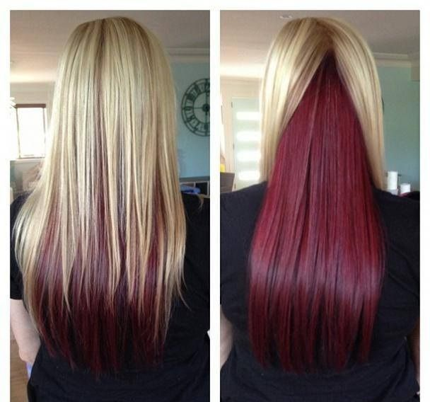 Trendy Hair Color Highlights Blonde On Top Red Underneath Awesome Long Straight Hair With Blonde On Top And Beauty Haircut Home Of Hairstyle Ideas Inspiration Hair Colours Haircuts Trends