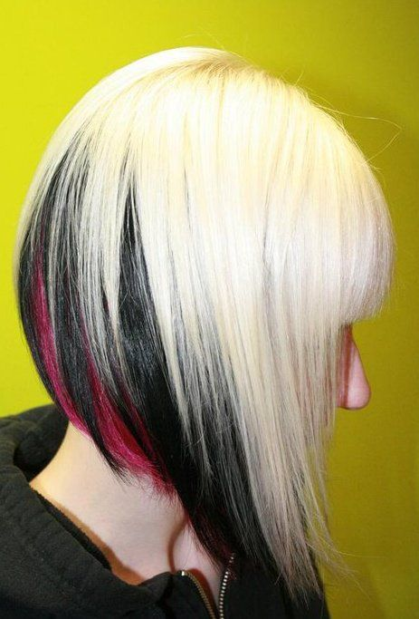 Trendy Hair Color Highlights Platinum Colored Hairwith Black