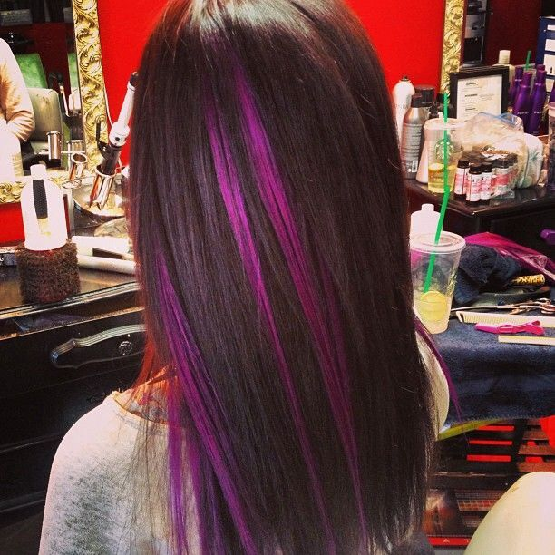 Trendy Ideas For Hair Color Highlights Brunette Hair With Purple