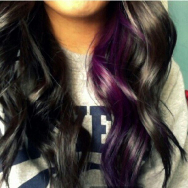 Long Black Hair With Purple Highlights Hair Color Ideas And Styles