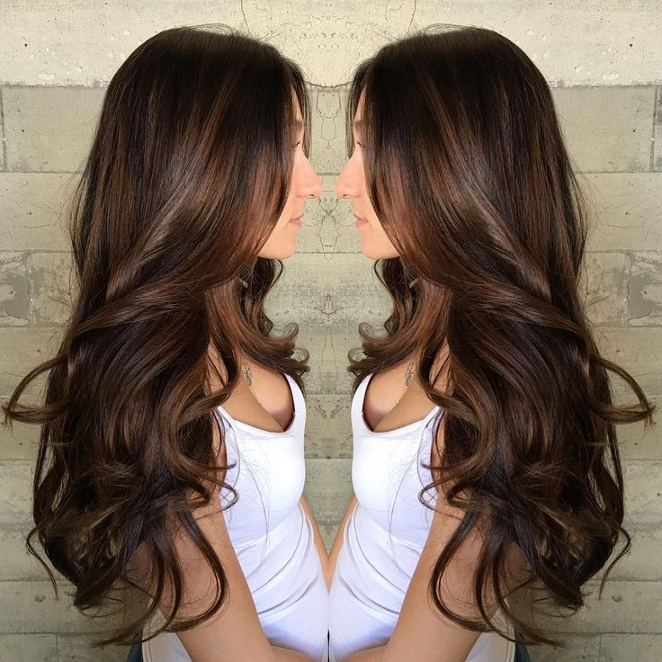 Trendy Ideas For Hair Color Highlights Long Curled Chocolate
