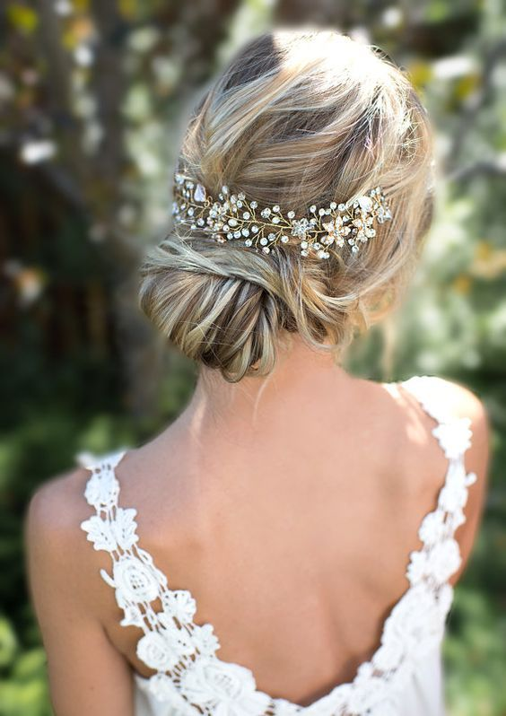 Boho Gold Halo Flower Hair Crown Wedding Updos / www.himisspuff.co...