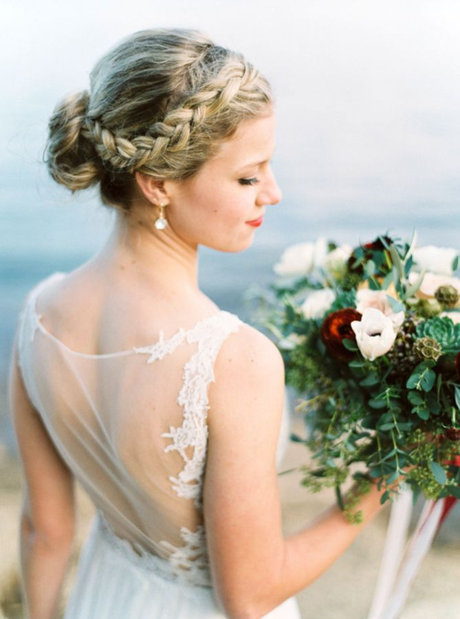 Pretty crown-braided updo: www.stylemepretty... | Photography: Maria Lamb - mari...