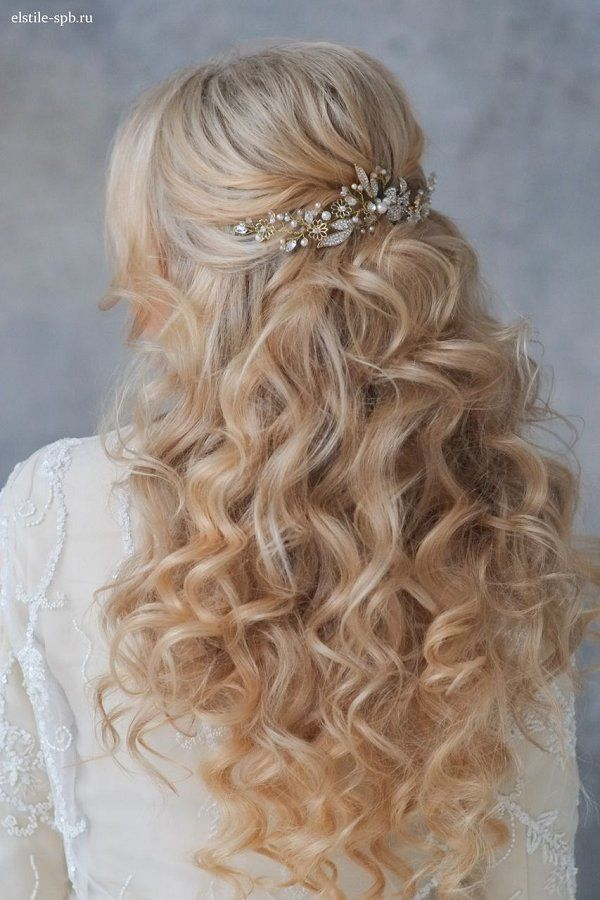 Wedding Hairstyles Long Wavy Half Up Half Down Wedding Hairstyle