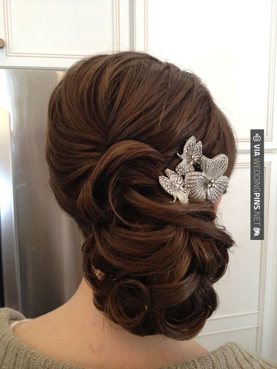 wavy wedding updo hairstyles with headpiece / www.himisspuff.co...